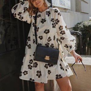 Who What Wear Floral Mini Tiered Poplin Dress M